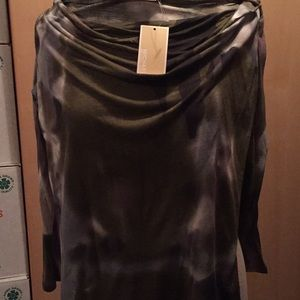 Michael Kors khaki rayon cowl neck top